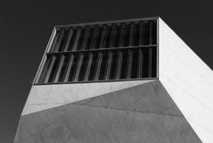 Window on the corner. Shot in black and white, detail on a modern building in Oporto, Portugal Royalty Free Stock Images