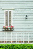 Window in country house with flower pots and flowers Stock Photo