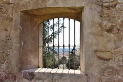 Window in the Courtyard of the ex Monastery of Sant`Agostino, Italy Royalty Free Stock Photo