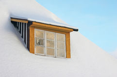 Window covered by snow Stock Images