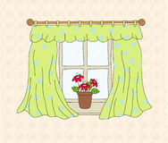 Window with curtain Royalty Free Stock Photos