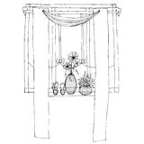 Window with curtain Stock Images