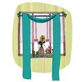 Window with curtain. Illustration of interior, window with curtain royalty free illustration