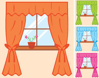 Window. With curtain and flower in pot Royalty Free Stock Image