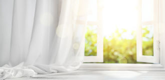 Window with curtain. Interiors background Stock Image