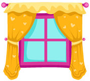 Window with curtains. Illustration of isolated a closed window with yellow curtains vector illustration
