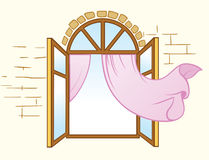 Window with curtains Royalty Free Stock Photography