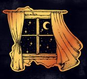 Window curtains with moon and starry sky artwork. Window curtains blown by the wind breeze with moon and starry sky falsh tattoo style artwork. Dreams, late Royalty Free Stock Photography