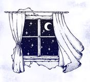 Window curtains with moon and starry sky artwork. royalty free stock photography