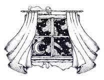 Window curtains with moon and starry sky artwork. royalty free stock photos