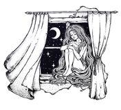 Girl with long hair dreaming on a windowsill. Window curtains blown by the wind, moon and starry sky. Girl with long hair dreaming on a windowsill. Dreams, late Royalty Free Stock Image
