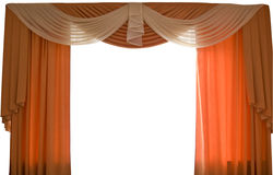 Window curtains | Isolated. Simple orange window textile curtains. Isolated on white background stock photos