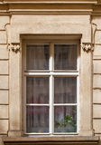 Window with Curtains. Window of the old house in the city center of Prague, Czech Republic. Interesting details of the facade frame. Curtains inside Stock Images