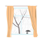 Window with curtains. Rainy cloudy day. Passers hide under umbrellas. Vector illustration. Royalty Free Stock Images
