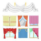 Window curtains and room blinds jalousie for house or creative home interior illustration. Window curtains and room blinds set. Jalousie for house or creative royalty free illustration