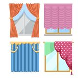 Window curtains and room blinds jalousie for house or creative home interior vector illustration. Window curtains and room blinds set. Jalousie for house or vector illustration