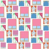 Window curtains seamless pattern background room blinds jalousie for house or creative home interior vector illustration. Window curtains room blinds seamless vector illustration