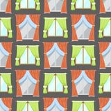 Window curtains seamless pattern background room blinds jalousie for house or creative home interior vector illustration. Window curtains room blinds seamless stock illustration