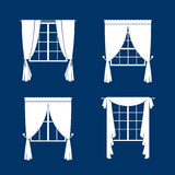 Window curtains set. White curtans and windows silhouette on blue vackground. Vector illustration vector illustration