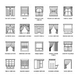 Window curtains, shades line icons. Various room darkening decoration, lambrequin, swag, french curtain, blinds and. Rolled panels. Interior design thin linear Stock Images