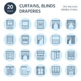 Window curtains, shades line icons. Various room darkening decoration, lambrequin, swag, french curtain, blinds and Stock Photo