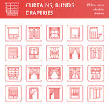 Window curtains, shades line icons. Various room darkening decoration, lambrequin, swag, french curtain, blinds and. Rolled panels. Interior design thin linear Stock Photos