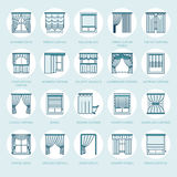 Window curtains, shades line icons. Various room darkening decoration, lambrequin, swag, french curtain, blinds and. Rolled panels. Interior design thin linear Royalty Free Stock Photography
