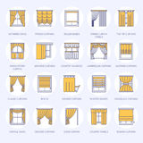 Window curtains, shades line icons. Various room darkening decoration, lambrequin, swag, french curtain, blinds and. Rolled panels. Interior design thin linear Stock Photography
