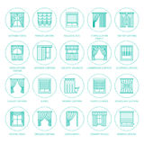 Window curtains, shades line icons. Various room darkening decoration, lambrequin, swag, french curtain, blinds and Stock Image