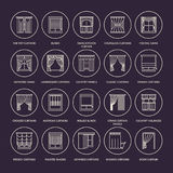 Window curtains, shades line icons. Various room darkening decoration, lambrequin, swag, french curtain, blinds and Stock Photos