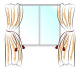 Window and curtains. Simple vector drawing window and two curtains Royalty Free Stock Images