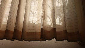 Window curtains wave at dawn stock video footage