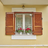 Window with cyclamen flowers Royalty Free Stock Photography