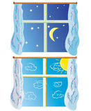 Window at day and night Royalty Free Stock Photo