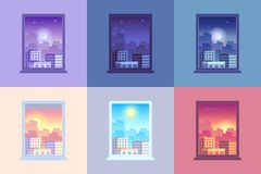 Window day time view. Sunrise and sun dawn morning noon and sunset dusk day and night stars at city house windows. Window day time view. Sunrise sun dawn morning vector illustration