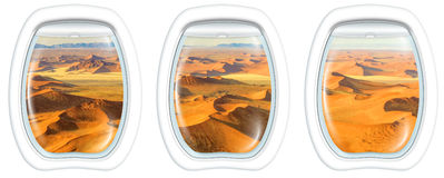 Window on Dead Valley. Three plane windows on Dead Valley, Sossusvlei desert in Namib Naukluft National Park, Namibia, from a plane on the porthole windows. Copy Stock Images
