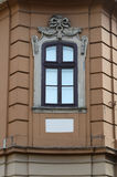 Window decor of the facade of the building in cultural traditions Royalty Free Stock Photo