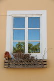Window decorated. Window with beautiful carved wooden decoration Royalty Free Stock Image