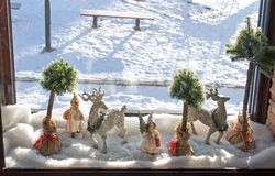 Window decorated for Christmas Stock Photo