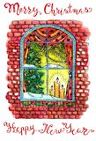 Window with decorated conifer tree, candles and baubles. New Year and Christmas holiday greeting card, watercolor and graphic hand drawn illustration with Stock Photo
