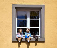 The window decorated with different sculptures Royalty Free Stock Image