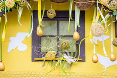 Window decorated for Easter Royalty Free Stock Photo