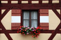 Window decorated with flower in Nuremberg Stock Photo