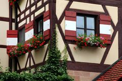 Window decorated with flower in Nuremberg Stock Photography