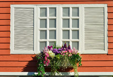 Window decorated with flowers Stock Image