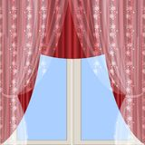 Red portieres and tulle Stock Images