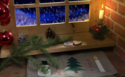 Window, decoration christmas, candle and snow Stock Photos
