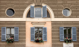 Window decoration with flowers. Rome, Italy, Piazza del Popolo Stock Image