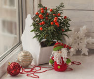 Window decoration for the winter holidays with a toy and nightsh Stock Images