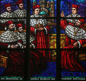 Window dedicated to Rudolf I, Stained glass in Votiv Kirche in Vienna Stock Photo